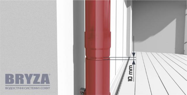 Люфт в 10 мм для свободного теплового расширения трубы