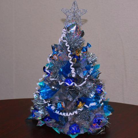 Основний колір в дизайні новорічної ялинки- блакитний і сірий