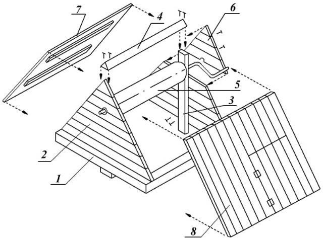 Схема збірки даху для колодязя