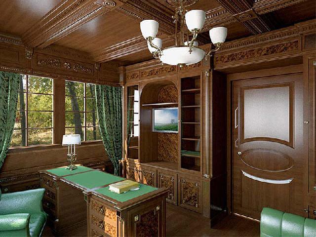 В интерьере английского кабинета превалирует декоративно обработанное дерево, которое сочетается с зеленым цветом текстиля