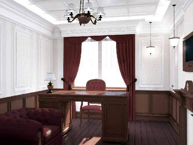 Деревянные панели, декоративная лепнина, обои с узором — неотъемлемые атрибуты английского кабинета