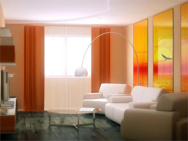 Фотопанель у вітальні — пейзаж розділений на триптих