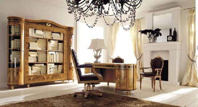 Пример сочетания в кабинете классического стиля с элементами стиля арт-деко: классический стиль вносит благородство и изысканность, а стиль арт-деко — декоративность и утонченность