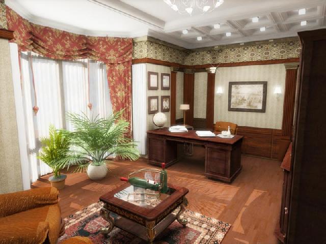 Стиль классицизм в интерьере кабинета: в качестве декора выделяются полуколонны из дерева, характерными для стиля есть и пастельные обои со строгим вертикальным рисунком