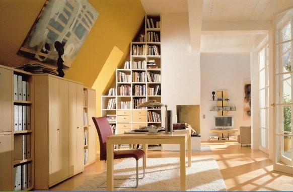 Зона кабинета в данном случае выделяется с помощью мебели