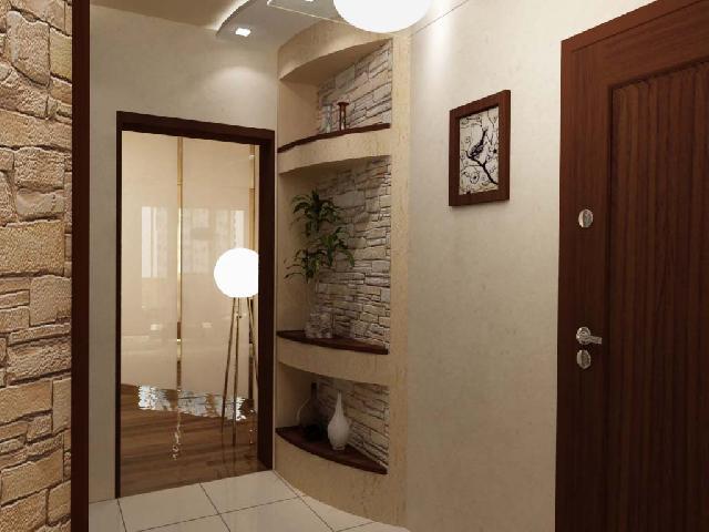 Стеклянная дверь, выходящая в маленькую прихожую, добавляет пространства