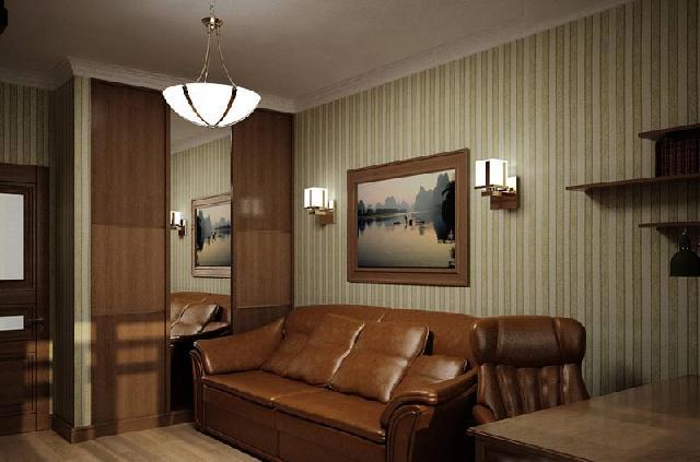 Обои для кабинета в классическом стиле исполнены в мягкой пастельной цветовой гамме, имеют фактуру