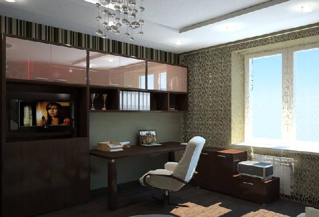 В кабинете стена над рабочей зоной декорирована обоями в стиле минимализм