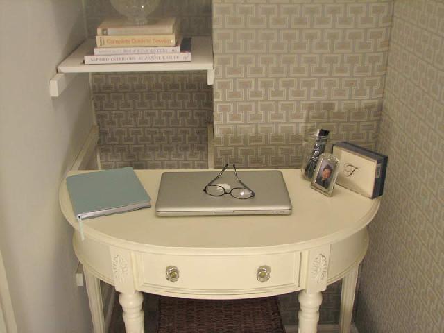 Текстильные обои в маленьком кабинете