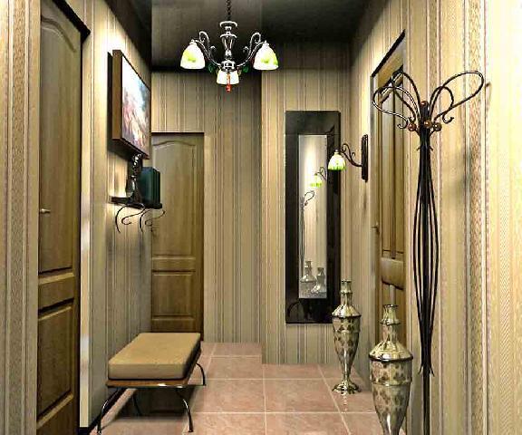 ЗD модель прихожей позволяет увидеть, что вертикальный орнамент в отделке стен делает ее визуально выше