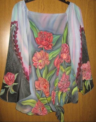 Роспись блузы — холодный батик