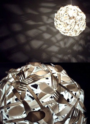 Светильник из одноразовых вилок «еще круче»