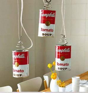 Самодельный светильник из банок из-под томатов