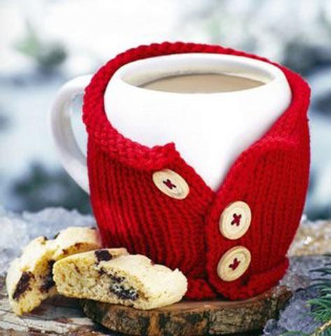 Подарок на Новый год.2019 своими руками: вязаный чехол для чашки Вязание и рукоделие