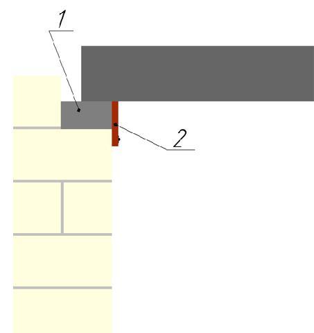 Устройство выравнивающего пояса: 1. бетонный пояс, 2. опалубка