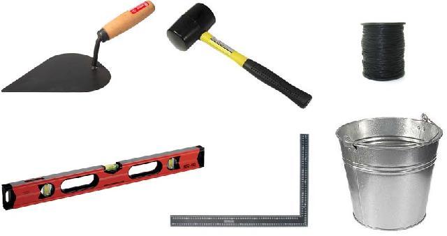 Основные инструменты и оснастка для кладки стен из ракушняка