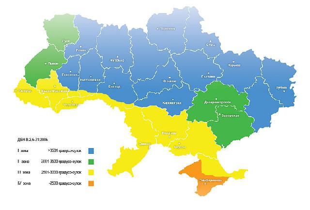 Рис. 1. Температурные зоны Украины по ДБН В.2.6-31:2006