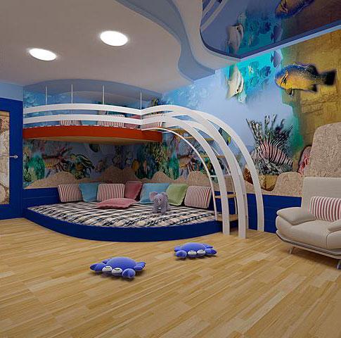 Два уровня в комнате помогут выделить дополнительное пространство для игровой зоны
