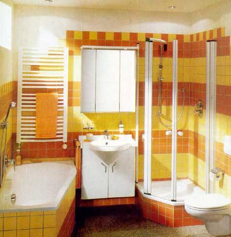 Желтый цвет в ванной комнате делает ее теплой