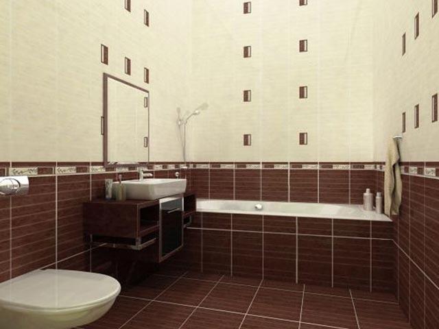 Маленькое помещение можно визуально увеличить делением плитки на горизонтальные планки