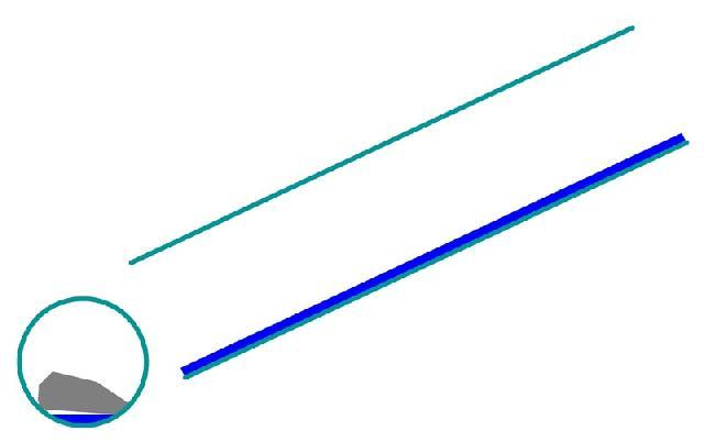 Рис. 2. Канализационная труба с большим уклоном