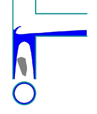 Рис. 3. Слив воды в трубопровод с уклоном близким к 1