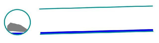 Рис. 4. Труба с уклоном 0,02 для стоков от частного дома