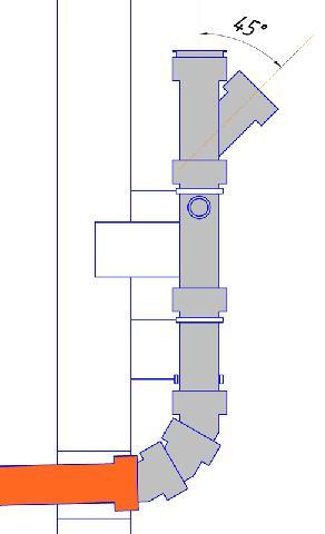 Ввод в стояк под углом 45 градусов предпочтительнее чем ввод под углом 90 градусов