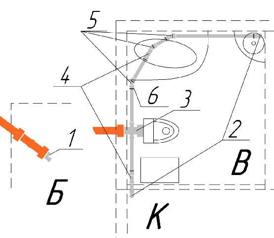 Схема внутренней канализации дома: В. ванная, К. кухня, Б. баня