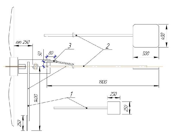 Рис. 1. Основні розміри вузлів вітрогенератора (вид-зверху ): 1. бічна лопать, 2. хвост з опіренням, 3. важіль
