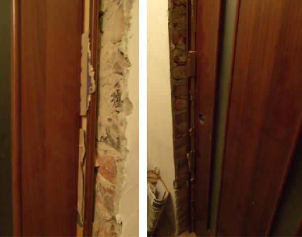 Зазор между дверью и коробкой следует уплотнить перед запениванием