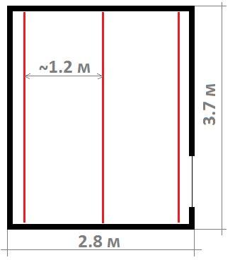 Рис. 1. Пример расположения маяков (линии красным цветом)