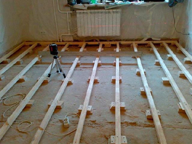 Установка лаг на бетонную поверхность