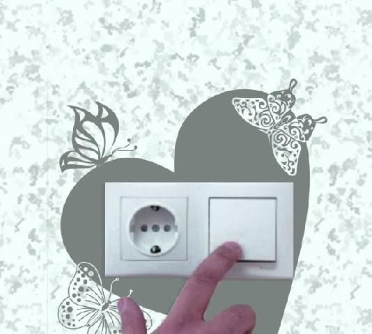 Трафарет возле выключателя: красиво и функционально. Светлая стена защищена от залапывания пальцами