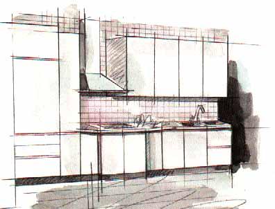 Дизайн интерьера кухни - Дизайн однорядной кухни