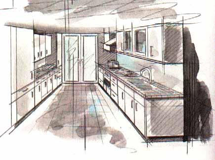 Дизайн интерьера кухни - Дизайн двухрядной кухни