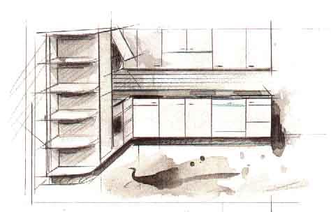дизайн г образной кухни фото