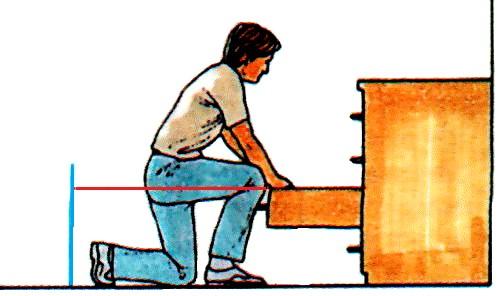 Розстановка меблів з висувними ящиками вимагає 1,25 м вільного простору