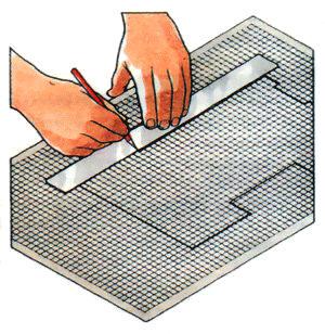 Нанесення плану розміщення меблів, побутової техніки та планування в квартирі на клітчастим