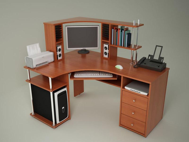 Угловой компьютерный стол с надстройкой, подставкой под системный блок...