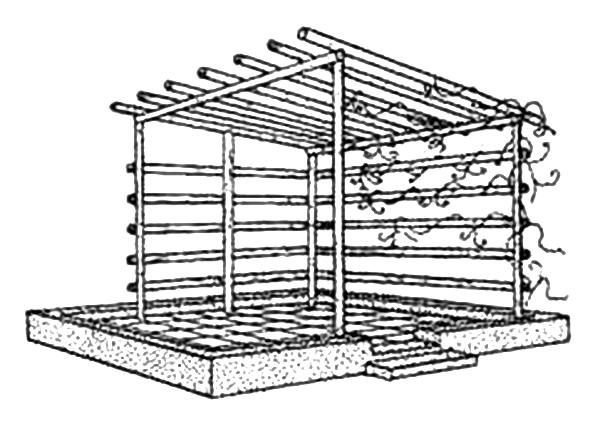 Вариант конструкции навеса перголы (беседки)
