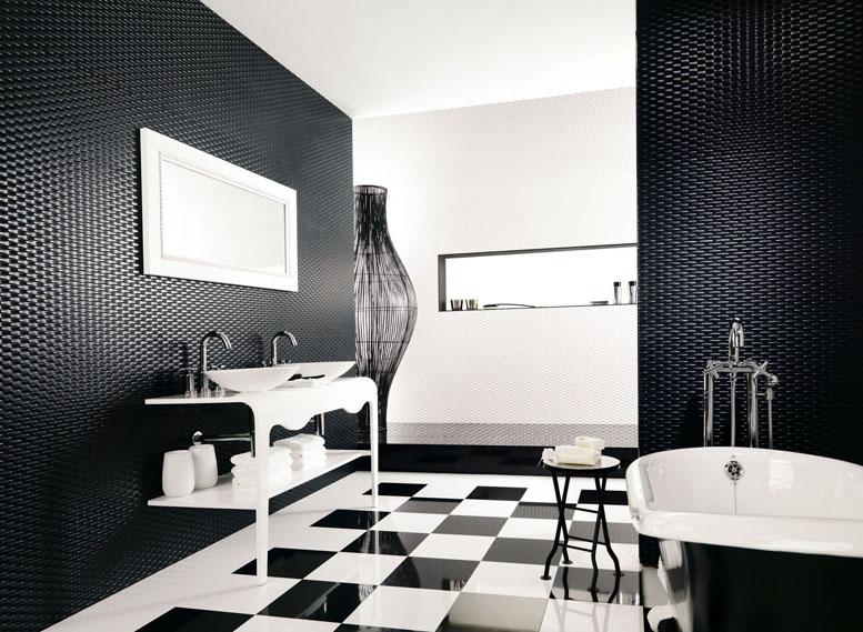 Интерьер ванны черно белый