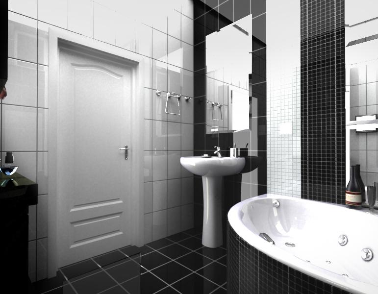 Ванная комната в черно-белых тонах УниверДом