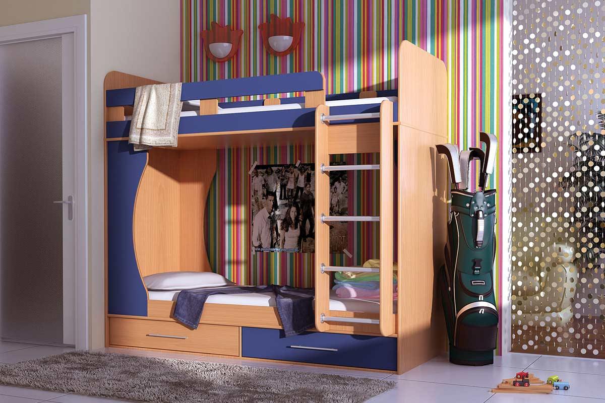 Пример двухъярусной кровати для более взрослых мальчиков
