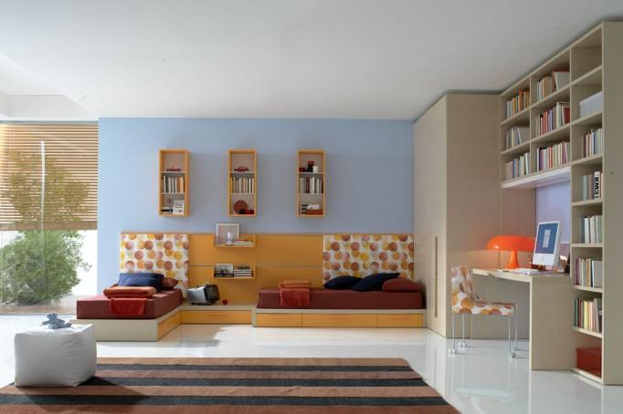 Дизайн детской комнаты для двоих детей на большой площади