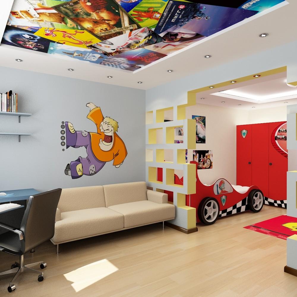 Дизайн детской комнаты для детей от 9 до 12 лет: комната зонирована по функциональным зонам, оформленная с использованием ярких цветов