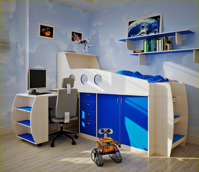 Пример кровати-чердака для детской комнаты