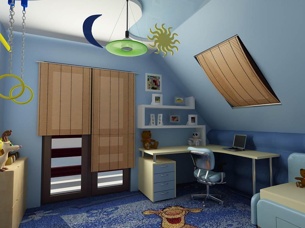 В данной модели детской комнаты предусмотрен хороший доступ естественного света через мансардное и большое обычное окна