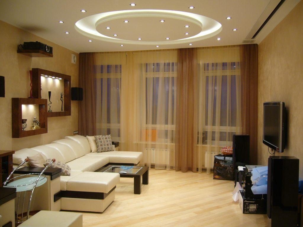 Декоративное освещение в нишах, точечное освещение — актуально в современной зала