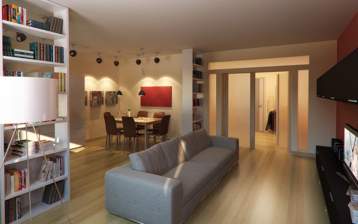 Пример зонирования зала с помощью света и пеналов для книг